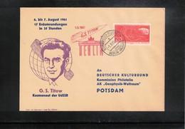 Germany DDR 1961 Space / Raumfahrt  Vostok-2 German Stepanovic Titov  Interesting Cover - Europe