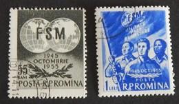 ROUMANIE YT 1412/1413 OBLITÉRÉS ANNÉE 1955 - 1948-.... Repúblicas