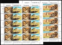 1994 Jersey EUROPA CEPT EUROPE 10 Serie Di 4v. MNH** In 2 Minifogli 2 Minisheets GRANDI SCOPERTE - GREAT DISCOVERIES - Europa-CEPT