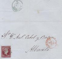 Año 1855 Edifil 40 4c Isabel II  Carta  Matasellos Rejilla  Y Rojo Alicante Membrete M.Guardiola De Alicante - Oblitérés