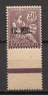 Alexandrie - 1921 - N°Yv. 43 - Mouchon 12m Sur 30c Violet - Bord De Feuille -Neuf Luxe ** / MNH / Postfrisch - Alexandria (1899-1931)