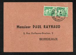 1949 Tarif IMPRIME URGENT 5 F X 2  Gandon  Vert Sur Avis D'expédition BORDEAUX RP 11-8-1949  3 Scan TB - Postmark Collection (Covers)