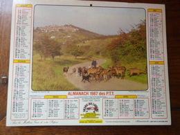 Calendrier Almanach 1987 Des P.T.T.- Paysage Du Centre (18) - Battage Dans Le Sud Ouest - Calendriers