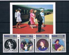 Samoa 1985 Königin Mi.Nr. 565/68 Kpl. Satz + Block 35 ** - Samoa (Staat)