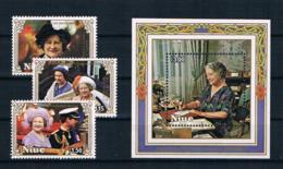Niue 1985 Königin Mi.Nr. 618/20 Kpl. Satz + Block 89 ** - Niue
