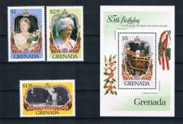 Grenada 1985 Königin Mi.Nr. 1394/96 Kpl. Satz + Block 142 ** - Grenada (1974-...)