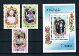 Ghana 1985 Königin Mi.Nr. 1085/87 Kpl. Satz + Block 116 ** - Ghana (1957-...)