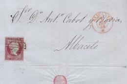 Año 1855 Edifil 40 Isabel II Carta Matasellos Rejilla Rojo Alicante Tipo I Membrete M.Guardiola Y Hermano - 1850-68 Kingdom: Isabella II