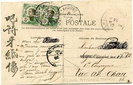 INDOCHINE CARTE POSTALE DU TONKIN -PROCESSION SORTANT D'UNE PAGODE DEPART MUONG-KHUONG 18 MAI 12 TONKIN POUR LE....R R - Covers & Documents