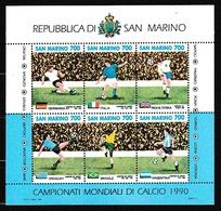 1990 San Marino Saint Marin MONDIALI Di CALCIO ITALIA 90 WORLDCUP Foglietto MNH** BF 44 Souv. Sheet - 1990 – Italië