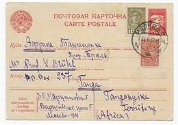 Sowjetunion 1937 Ganzsache Moskau Nach Tanganyika - Covers & Documents