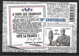 France 2010 Bloc Feuillet N° F4493 Neuf De Gaulle Appel Du 18 Juin à La Faciale - Sheetlets
