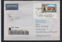 AUSTRIA 1999, Wipa 2000  Mi. 2292 - Yv. 2120 Serie Cpl 1v. Angolo Di Foglio Su Busta Raccomandata X La Germania - 1945-.... 2nd Republic