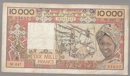Côte D'Ivoire Billet De 10 000 Francs CFA Série B Circulé - Elfenbeinküste (Côte D'Ivoire)