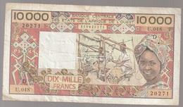 Côte D'Ivoire Billet De 10 000 Francs CFA Série D Circulé - Elfenbeinküste (Côte D'Ivoire)