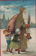 CPA Fantaisie Vive St Nicolas Sinterklaas Sint Niklaas Saint Enfants Children Harlekijn Jouet Gaufree Embossed Relief - Saint-Nicholas Day