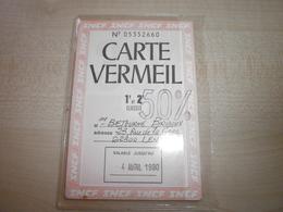 Ancienne Carte VERMEIL 1980 - Transporttickets