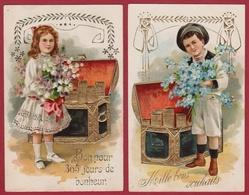 Two Old Postcards 1908 CPA Fantaisie Bonne Annee New Year Enfants Children Goldprint Gaufree Embossed Relief Moneybox - Neujahr
