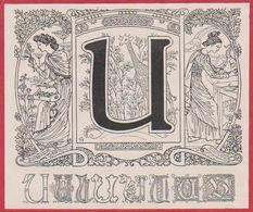 Lettre U Illustrée. Style Art Nouveau. Allégorie Représentant La Botanique Et La Zoologie. Larousse 1931. - Documents Historiques