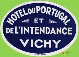 Voyo HOTEL DU PORTUGAL  Vichy France Hotel Label Early Printing  Vintage C.F.I.P. - Etiquetas De Hotel