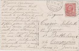 8637.  Da Pavia  Per 1° Genio 1° Battaglione 84 Compagnia Zona Di Guerra - 1918 - Poesia Dante: ...un Mormorar Di Fiume - Storia Postale