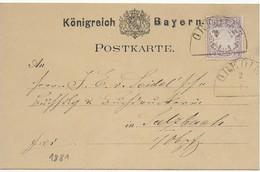 Bayern 1881 Postkarte 5 Pfennig - Halbkreis-Stempel GREDING - Bayern (Baviera)
