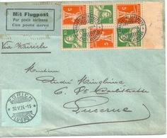 "Luftpost  ""Lausanne Blécherette"" - Luzern  (K/Z Frankatur)            1924 - Airmail"