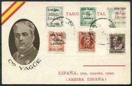 1937 Spain Civil War Yague Patriotic Propaganda Postcard. Malaga Overprints - Vignette Della Guerra Civile