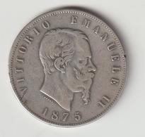 10-Regno D' Italia-5L.Argento 1875 Milano-BB ? - …-1861 : Before Reunification