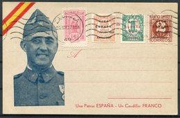 1937 Spain Civil War Franco Patriotic Propaganda Postcard. Viva Espana Zaragoza Local Overprints - 1931-Oggi: 2. Rep. - ... Juan Carlos I