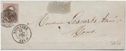 Nr 10A, 10 Cts Bruin Gerand Op Brief P108 Soignies Naar Mons, 13 Aout 1860 - 1858-1862 Médaillons (9/12)