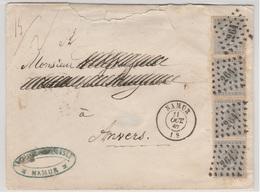 Nr 17, 10 Cts Grijs 4x Op Brief Van L264 Namur Naar Antwerpen, 11 OCT 67 - 1865-1866 Profil Gauche