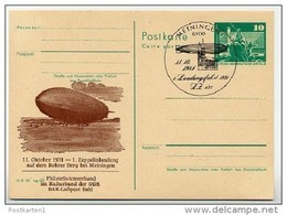 ZEPPELIN LANDING 1980 East German Postal Card Special Print P79-37a-81 C170-a - Zeppeline
