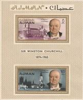 Ajman - Bloc De 2 Timbres - Sir Winston Churchill - 1874 1965 - Année 1966 - Mi BL7A - Adschman