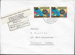Returned Due To War In Lebanon: Suisse Cover Posted 16.8.1976 To A Hotel In Beirut But Returned By Postes Suisse - Militares