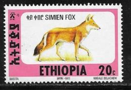 Ethiopia Scott # 1393D Unused No Gum Simien Fox, 1994 - Ethiopia