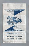 Suikerwikkel.- LUSTRUM 1961 U.S.C. FRANCOIS VILLON. 24 JUNI - 7 JULI. Suiker Sucre Zucchero Zucker Sugar - Suiker