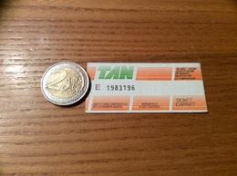 "Ticket De Bus ""tan - TICKET CARNET - NANTES(44) (vert, Orange) - Europe"