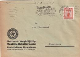 """Deutsches Reich / 1940 / Dienstmarke Mi. 149 Masch.-Stempel Memmingen """"Wertpakete"""", Abs. NSDAP-Kreisleitung (5137) - Officials"""