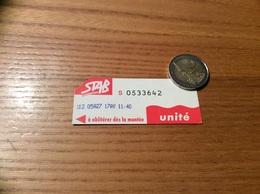 """Ticket De Bus """"STAB - Unité - BAYONNE (64) - Europe"""