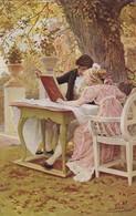 AK Unterm Lindenbaum - Franz Simm - Mann Und Frau Mit Buch - Ca. 1910 (46731) - Illustratori & Fotografie