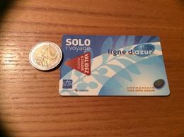 """Ticket De Bus """"ligne D'azur - Connex - SOLO 1 Voyage - COMMUNAUTÉ NICE CÔTE D'AZUR (06) - Europe"""