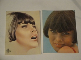 Mireille Mathieu 2 Cartes Promo + 2 Autographes - Autogramme & Autographen