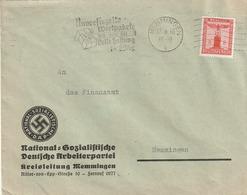 """Deutsches Reich / 1940 / Dienstmarke Mi. 149 EF Auf Brief, Masch.-o Memmingen """"Wertpakete"""", Abs.NSDAP-Kreisleitg. (5146) - Officials"""