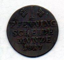 GERMAN STATES - BRUNSWICK-WOLFENBUTTEL, 1 Pfennig, Copper, Year 1817, KM #1069 - [ 1] …-1871 : Duitse Staten