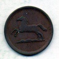 GERMAN STATES - BRUNSWICK-WOLFENBUTTEL, 1 Pfennig, Copper, Year 1855-B, KM #1142 - [ 1] …-1871 : Duitse Staten