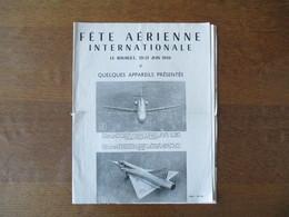 FÊTE AERIENNE INTERNATIONALE LE BOURGET 20-21 JUIN 1959 QUELQUES APPAREILS PRESENTES PROGRAMME OFFICIEL - Programmes