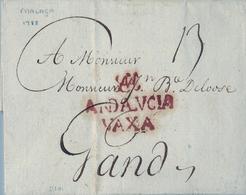 1788 , PREFILATELIA - MALAGA , CARTA COMPLETA CIRCULADA A GAND - España