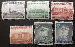 Pologne 1937-39 / Yvert N°391-396 / ** / Série Courante - 1919-1939 République