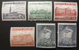 Pologne 1937-39 / Yvert N°391-396 / ** / Série Courante - Ungebraucht
